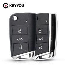 Keyyou para volkswagen passat golf 7 mk7 skoda seat leon para skoda octavia 3 botão flip dobrável substituição chave do carro cauda metal