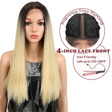 Magic Straight Lace Front Wigs For Black Women Middle Part Heat Resistant Hair Straight Black Blonde Synthetic Lace Front Wigs все цены