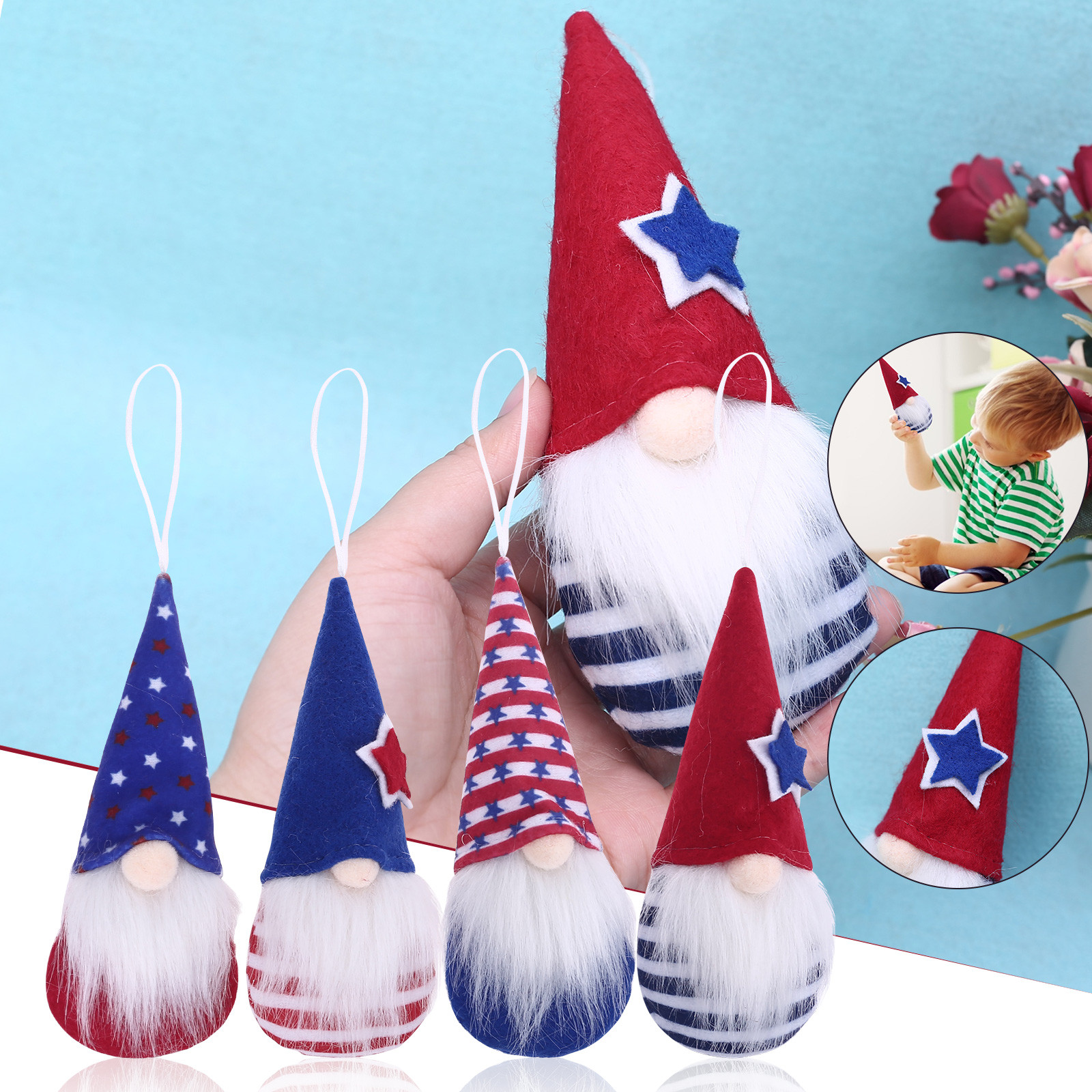 Plush Toy Kawaii Patriotic Gnome Doll Dwarf Plush Doll Decorations Holiday Gifts Household For Baby Girl Boy Birthday Best Gift