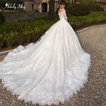 Adoly Mey Gorgeous Appliques Chapel Train Lace Ball Gown Wedding Dress 2020 Charming Boat Neck Long Sleeve Princess Bridal Dress