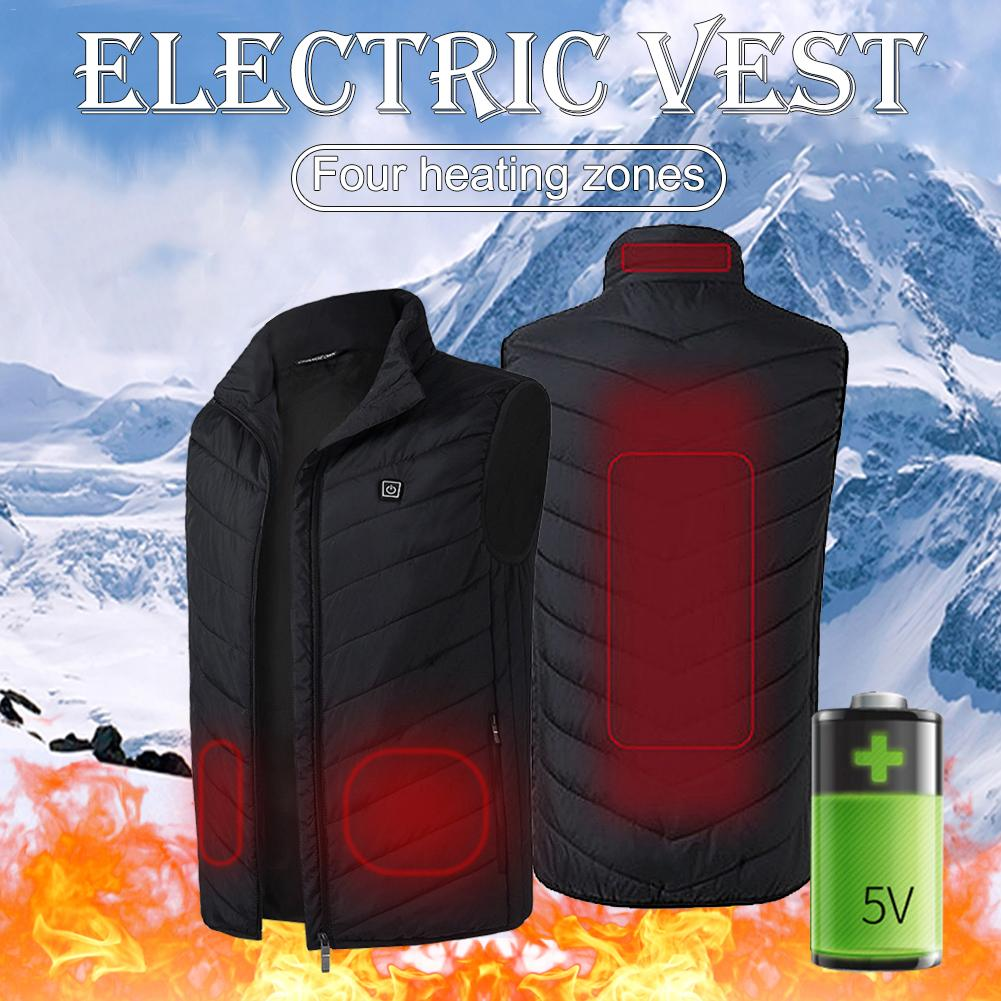 Winter USB Infrared Heating Vest Jacket Electric Thermal Clothing Waistcoat For Women Men Outdoor Hiking Camping Cycling