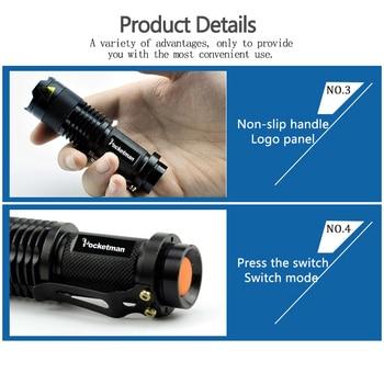 Mini Q5 T6 L2 LED Flashlight Pen Clip Telescopic Zoom Flashlamp Waterproof Torch Pocket Flash Light Use 14500 Or 18650 Battery 5