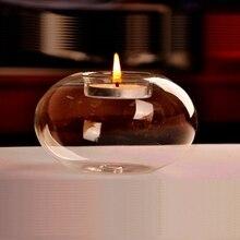 Круглый полый стеклянный канделябр, подсвечник, Обеденный домашний декор, свадебные принадлежности