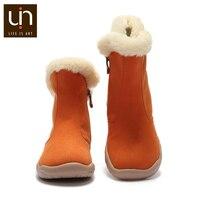 UIN Hakkar Series Autumn/Winter Boots Big Kids Warm Long Fur Boots Zip Design Children Shoes Microfiber Suede Boot Girls/Boys