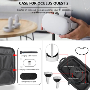 Image 3 - New Hot EVA Protect Waterproof Case for Oculus Quest/Quest 2 VR Glasses Gaming Headset and Accessories Travel Carrying Case Bag