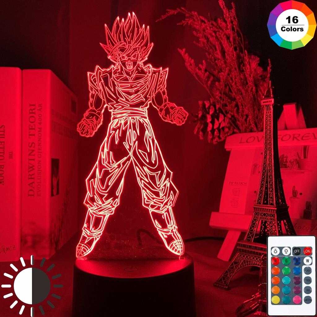 3d Led Night Lamp Dragon Ball Goku Super Saiyan Figure Atmosphere for Child Bedoom Decor Nightlight Bedside 3d Night Light Gift(China)