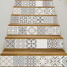 6 Stks/set 3D Mandala Bloem Trap Trap Riser Floor Sticker Zelfklevende Diy Stairway Waterdichte Pvc Muurtattoo Home Decor