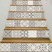 6 teile/satz 3D Mandala Blume Treppe Stair Riser Boden Aufkleber Selbst Klebe DIY Stairway Wasserdichte PVC Wand Aufkleber Wohnkultur