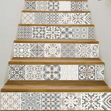 6pcs/set 3D Mandala Flower Staircase Stair Riser Floor Sticker Self Adhesive DIY Stairway Waterproof PVC Wall Decal Home Decor