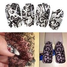 100cm x 4cm lámina de transferencia de encaje negro arte de uñas envolturas completas adhesivas de flores DIY manicura Slider decoración herramientas BELB03 1