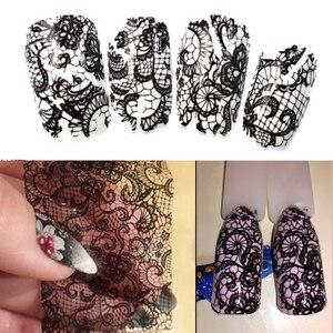 Image 1 - 100cm x 4cm noir dentelle transfert feuille Nail Art Sexy plein enveloppes fleur colle adhésif bricolage manucure curseur décoration outils BELB03 1