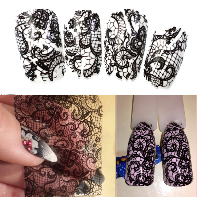 100cmx4cm Black Lace Transfer Foil Nail Art Sexy Full Wraps Flower Glue Adhesive DIY Manicure Slider Decoration Tools BELB03 1