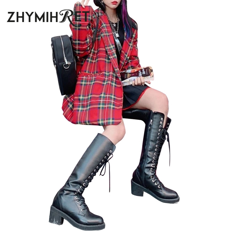 ZHYMIHRET Autumn Turn Down Collar Red Plaid Women Blazer Casual Single Button Pockets Coat Long Sleeve Office Lady Jacket