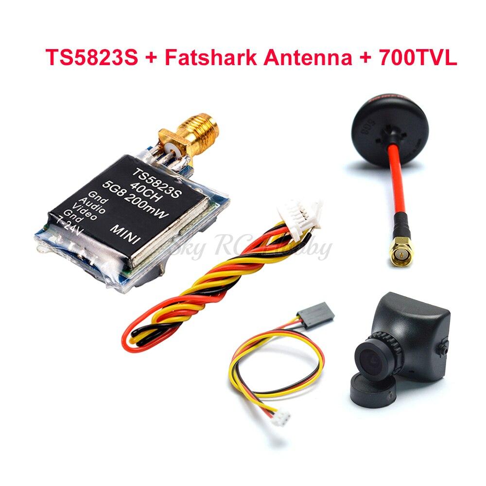 40CH TS5823S TS5823 5.8G 200mW Mini AV Wireless Transmitter TX Module / 700TVL Camera / Fatshark Antenna For FPV RC Racing Drone