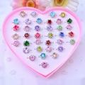 36 PCS/Set Girls Toys Adjustable Plastic Rings Jewelry Children Girl Gift Heart Crystal Ring Set New Year Birthday Gift