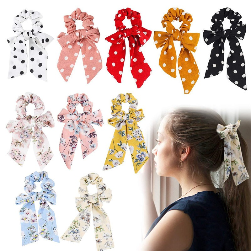 New Ponytail Scarf Elastic Hair Rope Women Hair Bow Ties Scrunchies  Flower Print Ribbon Hairbands  Girls Elegant Headwear