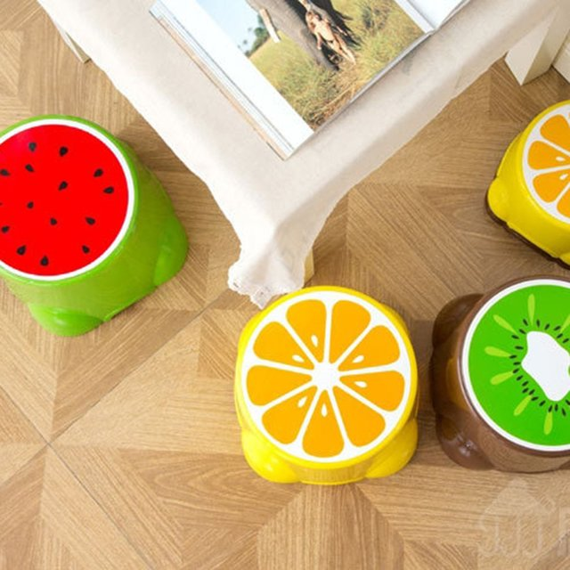4 Colors Lovely Stools Fruit Pattern Living Room Non-slip Bath Bench Child Stool Changing Shoes Stool 2