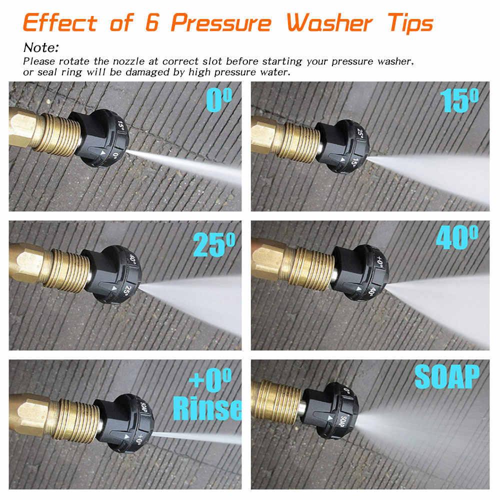 6 w 1 myjka ciśnieniowa porady dysza szybkie podłączenie wskazówek do mycia samochodu 1/4 cal słupa wody sprayu prysznic wentylator
