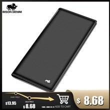 BISON DENIM uzun çanta çanta cüzdan iş erkek ince hakiki deri cüzdan lüks marka tasarım kullanışlı ince erkek cüzdan N4470 1