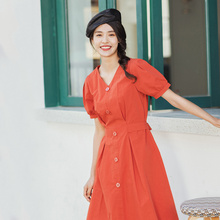 INMAN 2020 Summer New Arrival Literary Pure Cotton V neck Lace up Nipped Waist Slimmed French Style Dress