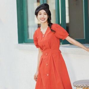Image 1 - INMAN 2020 lato nowy nabytek literacka czysta bawełna dekolt w szpic sznurowany talia Slimmed francuski styl sukienka