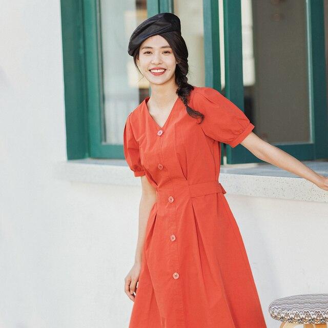 INMAN 2020 lato nowy nabytek literacka czysta bawełna dekolt w szpic sznurowany talia Slimmed francuski styl sukienka