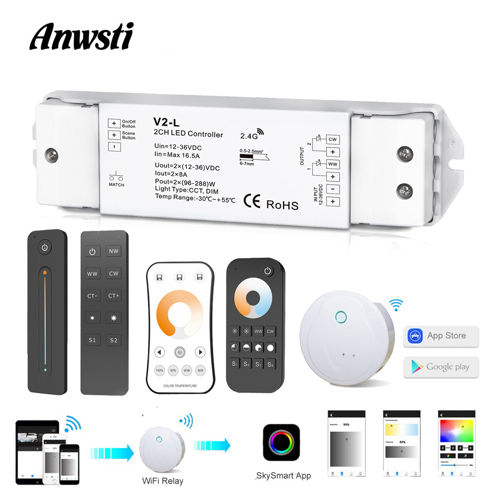 WW CW LED Controller Wifi Smart RF Wireless 2.4G <font><b>Remote</b></font> Controller <font><b>12V</b></font> 24V 36V 2CH CCT LED <font><b>Dimmer</b></font> for Single Color CT LED Strip image