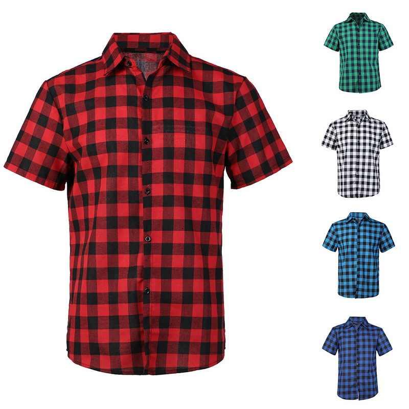 Puimentiua 格子縞の男性のシャツ 2019 夏のファッションシュミーズオムメンズ市松シャツ半袖メンズカジュアルコットンブラウス
