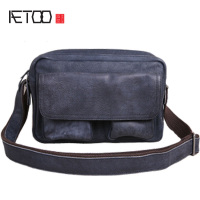 AETOO Vintage leather men's bag, one shoulder men's small bag, casual water wash cowhide slant bag, trend soft leather bag