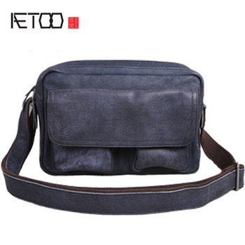 AETOO Vintage leather men's bag, one-shoulder men's small bag, casual water wash cowhide slant bag, trend soft leather bag