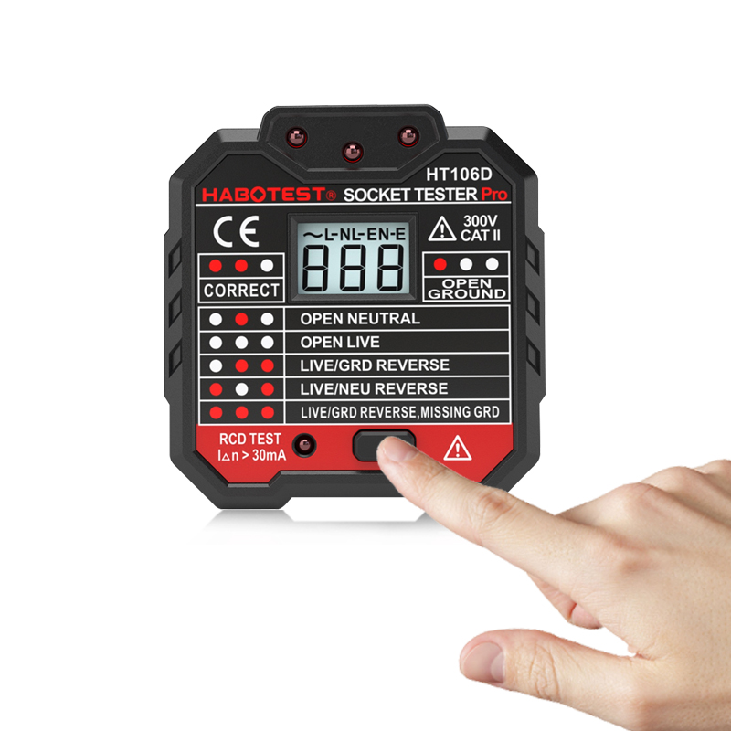 Image 3 - Habotest HT106d socket tester Voltage Test Socket detector EU Plug Ground Zero Line Plug Polarity Phase Check-in Circuit Breaker Finders from Tools