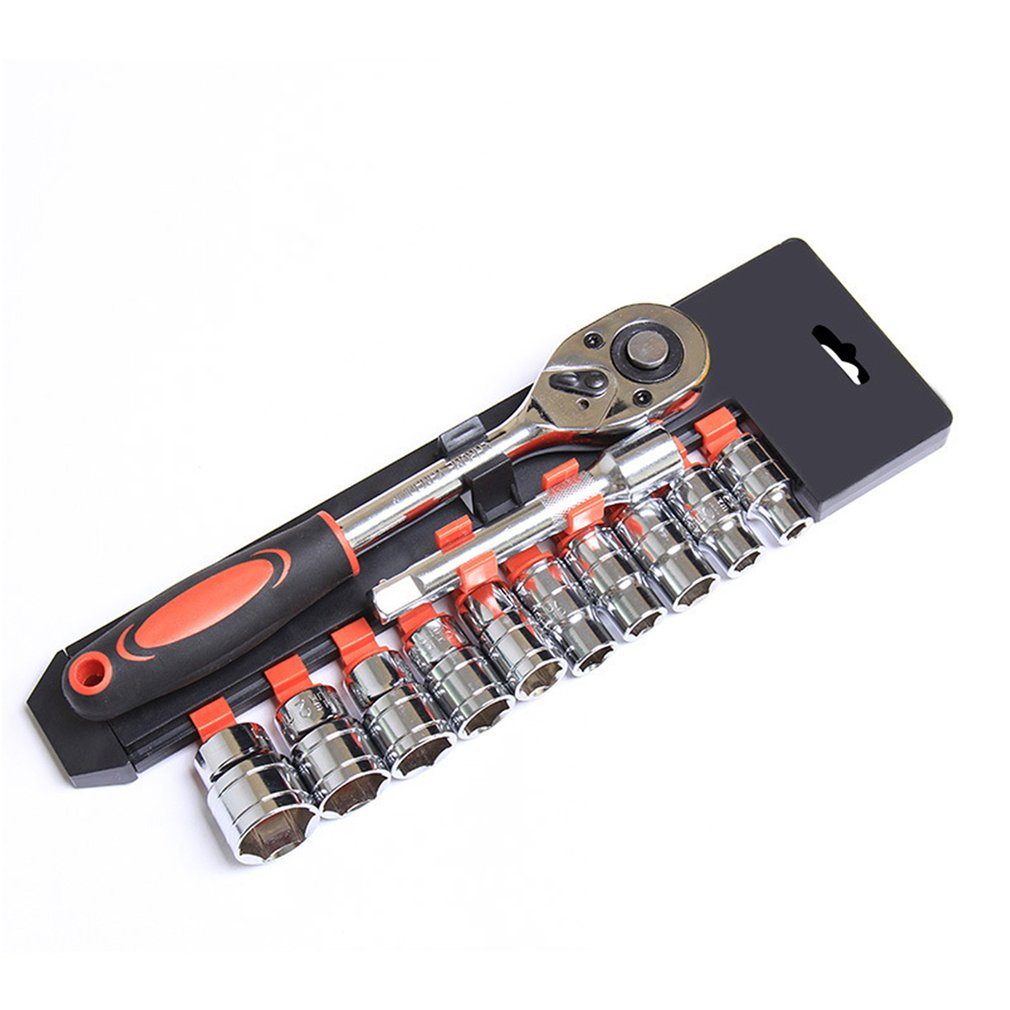 12PCS  Car Socket Ratchet Wrench Spanner Kit Sleeve Set Extension Rod Automobile Motorcycle Repairing Combo Tools