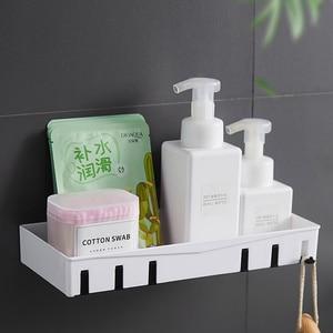 Image 1 - Wall mounted Bathroom Organizer Storage Shelf Household Items Bathroom Accessories Kitchen Plastic Rack Space Shelf Nail freel