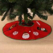 Рождественские украшения для дома фартук Санта аппликация Нетканая елка юбка год украшение дерева 70 см диаметр орнамент# Y