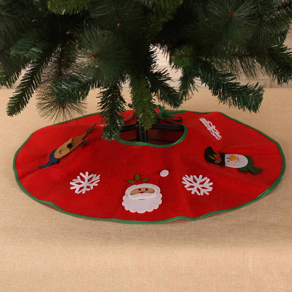 70CM Tree Apron Santa Applique Non-Woven Christmas Tree Decoration Home Natal Tree Skirts New Year Decoration #LR3