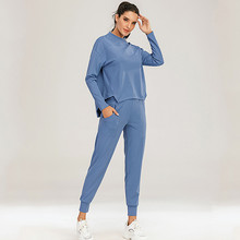 Autumn Winter New Woman SprortSwear Sport Tops Pants 2Pcs Yoga Set Solid Running Jogging Fitness Clothes Casual O-neck Tracksuit
