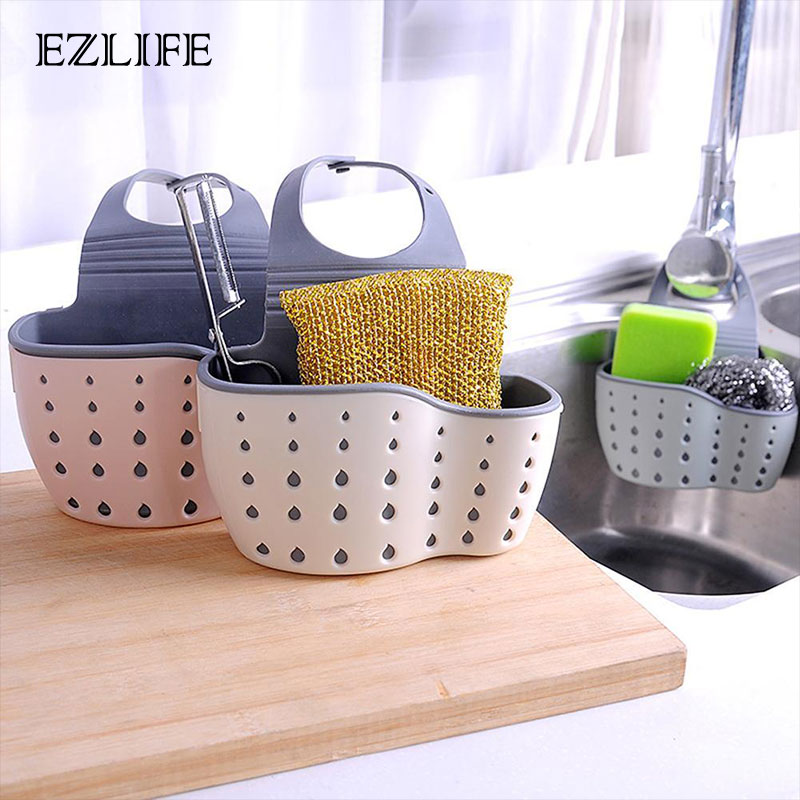 Kitchen Organizer Sponge Storage Hanging Basket Drainer Kitchen Sink Adjustable Snap Sink Rack Hanging Kitchen Holder Bathroom