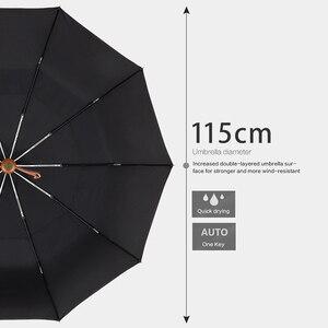Image 4 - Parachaseビッグ傘男性ビジネススタイル115センチメートル自動傘雨二重層10 18k防風大型ゴルフ傘木製
