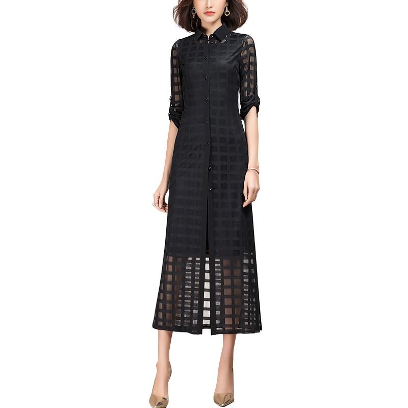 2021 primavera nova casual das mulheres roupas de manga longa vestido de camisa de renda preta para mulher