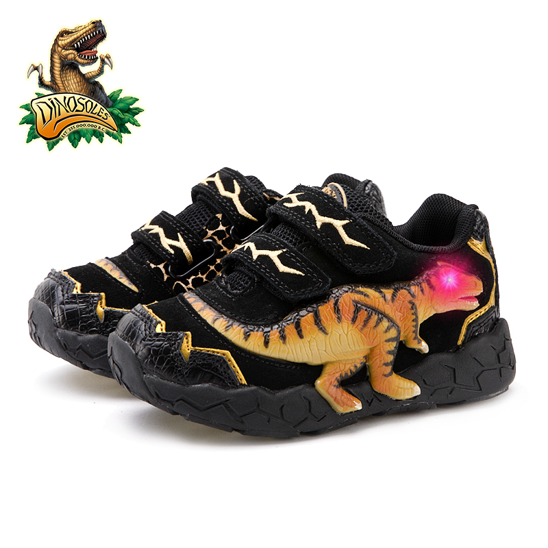 Image 5 - DINOSKULLS 3 9 Years Boys Dinosaur Glowing Sneakers 2019 Autumn Kids LED Sports Shoes With Light Leather Childrens T rex ShoesSneakers   -