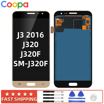 5.0 For Samsung Galaxy J3 2016 J320 J320F J320H LCD Display Touch Screen Digitizer Assembly Replacement with Brightness Control amoled lcd sm j320fn f m h ds for samsung j3 2016 j320 j3 2015 j300 lcd display touch screen j320f j320fn j320h j320m j3 lcd
