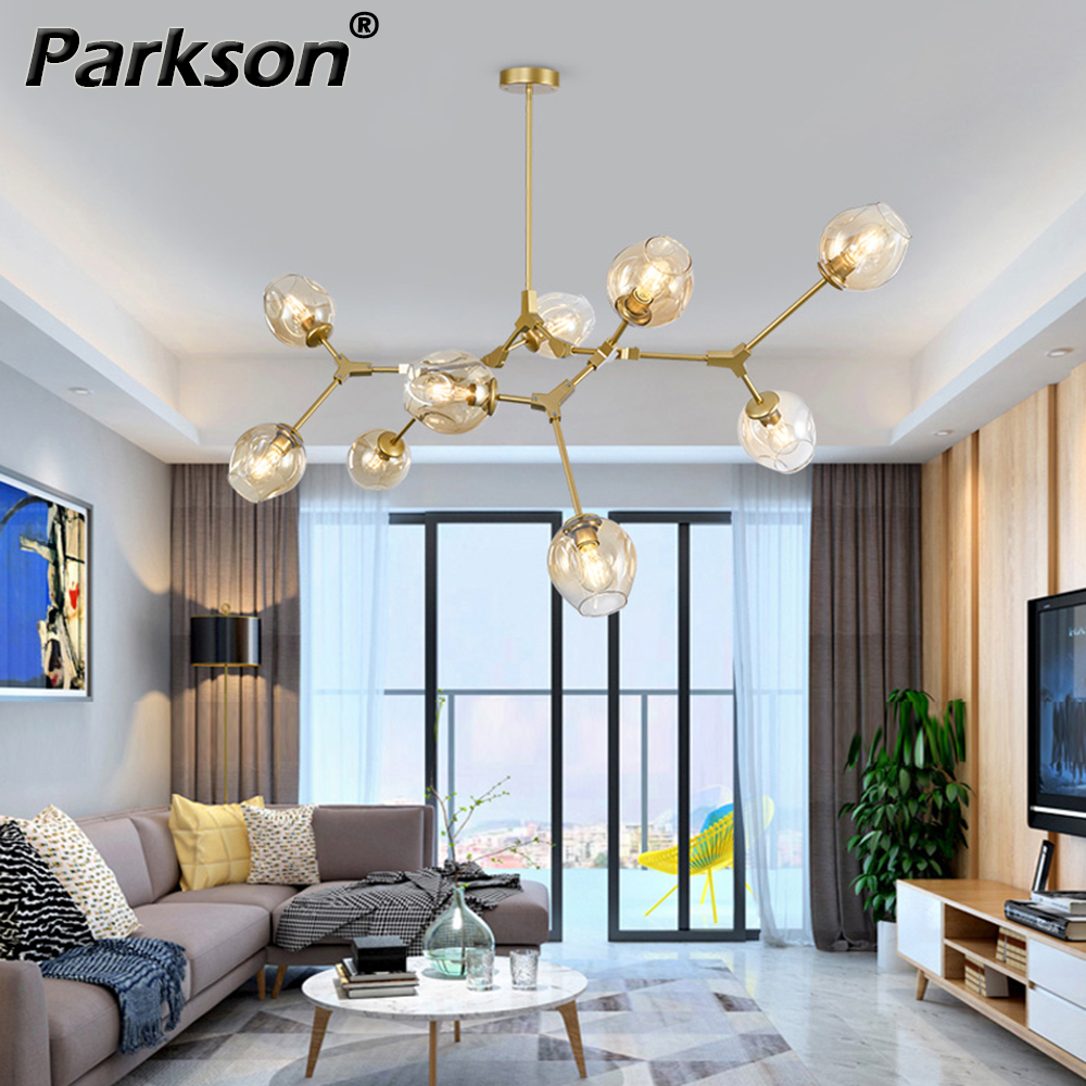 Nordic Pendant Light Lamp Modern 4 Colors Glass Lampshade Gold Black Body Handing Lamp Art Decoration Light For Industrial