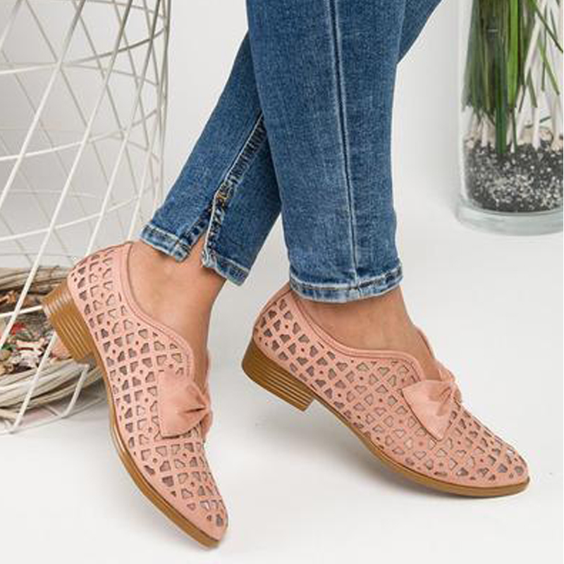 New Fashion Bowtie Pointed Toe 2020 Women Flats Spring Shoes For Woman Platform Slip On Loafers Hollow Out Leather Drop Shipping