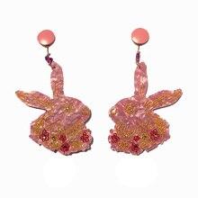 Acrylic rabbit Earrings Mr. Funny bunny Women stud earring Jewelry