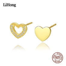 S925 Sterling Silver Stud Earrings Fashion Korean Version Simple Heart Exquisite Inlaid Zircon Stud Earrings For Women Jewelry cute long chain silver stud earrings with bling zircon stone for women fashion jewelry korean earrings 925 silver