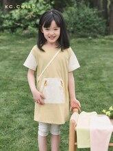 KC.Child Girls' T-shirt dress Children's long T-shirt Color-block Design Breathable Cool Skin-friendly Soft Age2-10Y color block single pocket t shirt