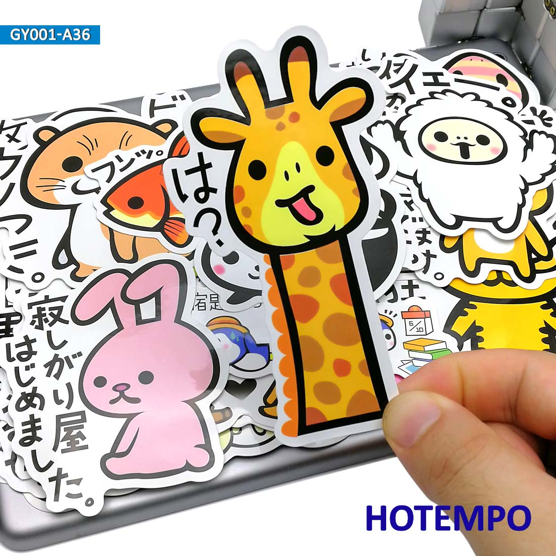 36pcs Cute Slogan Animal Japan Cartoon Style Kawaii Stickers For Child Kids Gift Phone Laptop Luggage Suitcase Stationery Decal
