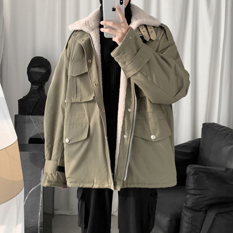 Зимняя новая утолщенная куртка из овечьей шерсти, Мужская теплая модная куртка с отворотом, Мужская Уличная свободная хлопковая куртка с несколькими карманами - 2