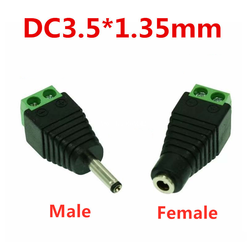 10Pcs Male Female <font><b>DC</b></font> Power <font><b>Plug</b></font> Connector 3.5x1.35mm <font><b>1.35mm</b></font> x 3.5mm Needn't Welding <font><b>DC</b></font> <font><b>Plug</b></font> Adapter 12V 24V For CCTV image