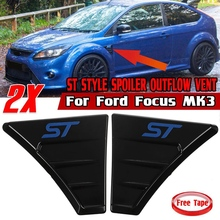 ST Style Car Side Vent Fender Spoiler Outflow Vent Side Vent Fender Air Flow Wing Fender Cover Trim for Ford Focus MK3